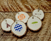 Tribal Theme Wood Gift Tags  Set of 20 Boho Style