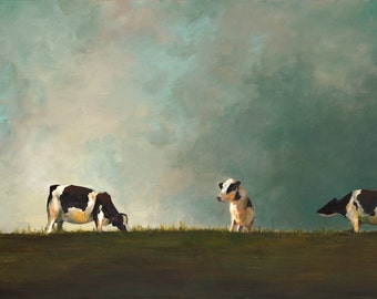 Cow Painting- Hilltop Reunion- CANVAS Giclee print of an original painting by Cari Humphry