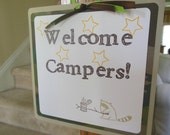Camping Door Sign, Outdoor Party Sign, Camping Birthday Sign