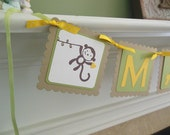 Monkey Name Banner, Monkey Birthday Banner, Monkey Baby Shower Banner, Monkey Party