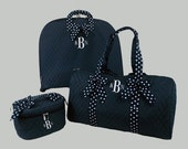 Personalized Garment Bag-Duffle Bag And Cosmetic Train Case-Quilted In Navy Blue With Navy And White Polka Dot Trim-Monogramming Included