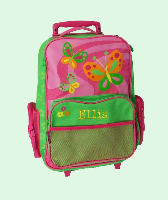 Personalized Stephen Joseph Rolling Luggage BUTTERFLY Themed for Children-Full Monogramming Instructions Are Required To Complete Your Order