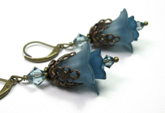 Flower Earrings, Vintaj Brass, Dazzling Blue, Dangle Earrings, Swarovski Jewelry, Lucite Flowers, Womens Accessories, Slate Blue, Pantone