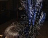 Burlesque Feather Fascinator with Bead and Sequin Black Leaf Detail and Blue Peacock Plumes