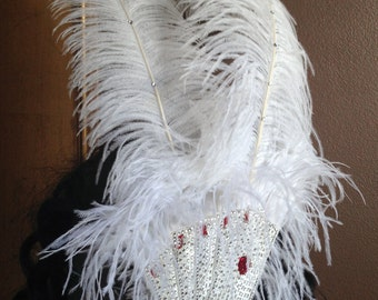Royal Flush Ostrich Feather Vegas Burlesque Fascinator with Sequin and Crystal Card Motif CLEARANCE