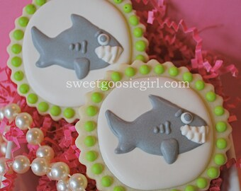 Preppy  Shark Decorated Sugar Cookies (12)