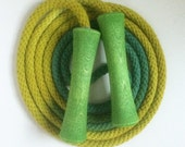Hand-dyed jump rope, chartreuse and forest green with green wooden handles