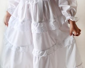Lacy Twirly Long Nightgown for girls in White Batiste