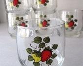 Vintage Strawberry Glasses,  Set of Six