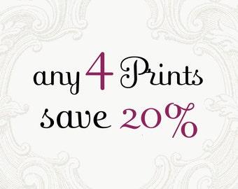 Custom Print Set - Choose Four Photographs and Save 20%, Home Decor, Large Wall Art