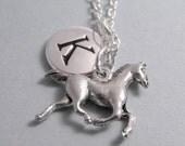 Horse Necklace, Horse Charm, Horse Keychain, Silver Plated Charm, Horseback Riding, Engraved, Personalized, Monogram