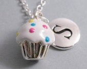 Vanilla Cupcake Necklace, Cupcake Charm, Cupcake Keychain, Silver Plated Charm, Engraved, Personalized, Monogram