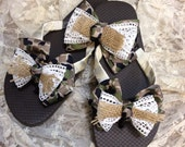 Camo Lace Burlap Flip flops Christmas Gift Toddler Flip Flops Teen Flip Flops Country Wedding Flip Flops
