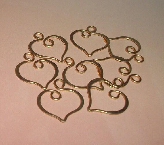Brass Valentine Heart Charms 8