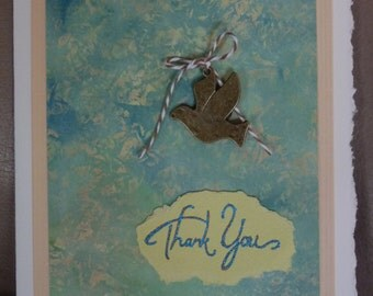 Handmade Thank You Card - Printed Paper - Metal Bird Charm - Bakers Twine - FREE Shipping