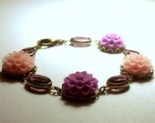 Romance - Pretty Posies and Amethyst Glass Connectors Bracelet in Antique Brass