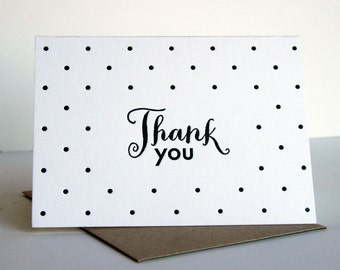 Letterpress Thank You Card - Thank You Dots