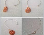 Orange Carnelian Cherry Blossom / Daisy / Lattice Mother of Pearl Shell Pendant Necklace