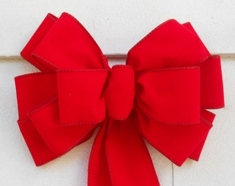 Hand Tied Weatherproof Bright Red Velvet Christmas Bows, Lot of 5