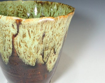 Stoneware Vase in Woodland Green over Amber Brown Glaze /  Home Decor / Vase / Vessel / Display Pottery