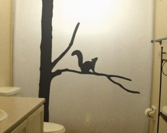 Squirrel Tree Shower Curtain Bathroom Decor Kids Bath Dead Gnarly Branch Wintertree Winter gift simple design calm classic silhouette