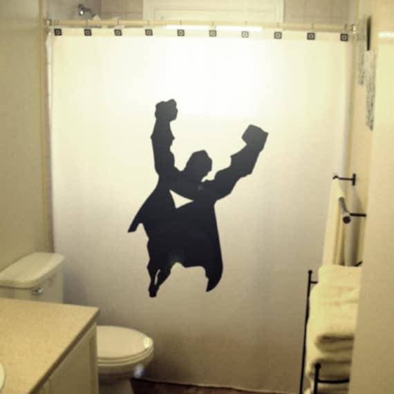 Superman Bathroom Decor: Super Hero Flying Man Kids Shower Curtain Superhero Comic Bath