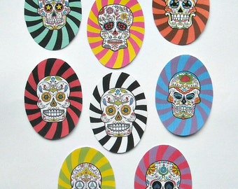 Sugar Skull STICKERS- 8 Ready to use with Adhesive- SUGAR SKULL art, Dia de los Muertos art, Dia de los Muertos Jewelry, Day of Dead Prints