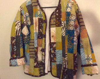 Patchwork quilt vest jacket cardigan coat handmade