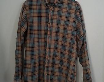 Men's plaid shirt punk tartan Par Four 1980s 80s medium tall 42 44