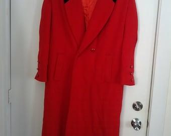 red valentine wool coat women Leslie Fay size 10 winter coat overcoat double breasted velvet collar