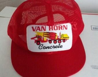 Van Horn Concrete mesh cap hat baseball trucker embroidered patch uniform