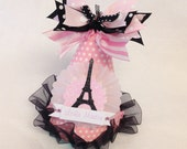 Sparkly Paris Birthday Party Hat in light pink white and silver polka dot
