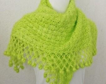 Knitted shawl scarf, winter Neck Warmer,  women scarves, Neon, Neon green, Crochet Shawl
