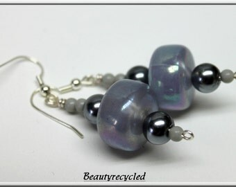 grey resin bead earrings vintage beads, glass  pearls, prom, costume, boho,
