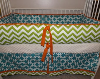 Custom Teal Lime chevron and orange  Bumper Pad Crib Set DEPOSIT Down payment Only