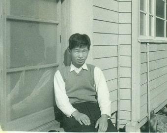 Katunobu Uchiyama Japanese Man 1950s Japan Vintage Black and White Photo Photograph