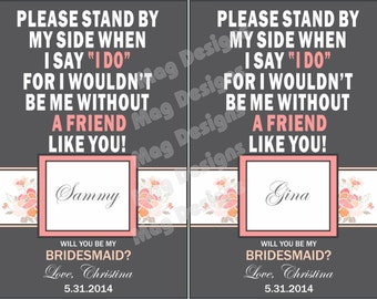 Custom Bridesmaid Non - Photo Wine Label - Will you be my Bridesmaid - Personalized Labels - 5 Labels