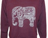 "Painted ELEPHANT Paisley Henna Art Print Ladies Slouchy ""Sweatshirt"" American Apparel    S M or L"
