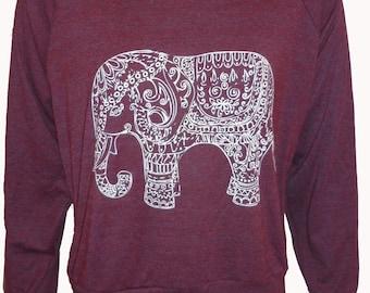 "Painted ELEPHANT Paisley Henna Art Print Ladies Slouchy ""Sweatshirt"" American Apparel  S M L"