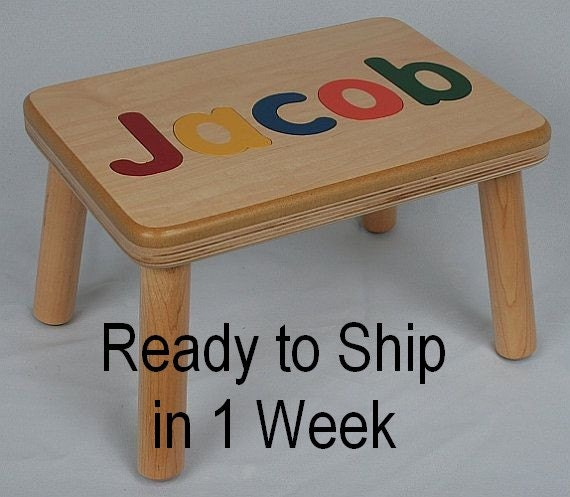 Birthday Table Acnl: Name Puzzle Step Stool / Bench Super Baby By JandPWoodProducts