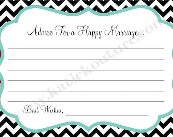 Chevron or Polka dot Advice cards or Helpful hints cards for baby shower or Bridal shower