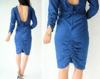 50's Style Vintage 80's Cobalt Blue denim BACKLESS Dress / Ruched Back With Fabric Button Accents / Leg Slit Pencil Dress-Large