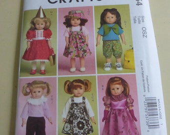 McCall's Crafts Pattern M5554  Doll Clothes for 18 Inch Doll  Factory Fold