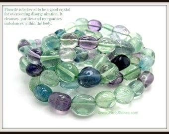 Fluorite Beaded Smooth Nugget Stretch Bracelet, Crystal Healing, Gemstone Bracelet, Beads, Stretch Bracelet,