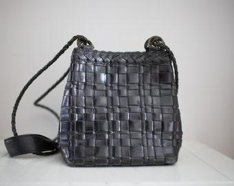 Vintage 1980's Woven Black Leather Purse by Nine West