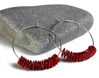 Red sequins hoop earrings (641) - Flat rate shipping