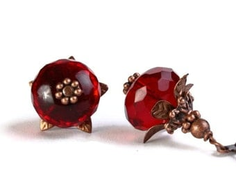 Red Czech glass rondelle with antiqued copper earrings READY to Ship (238) - Flat rate shipping