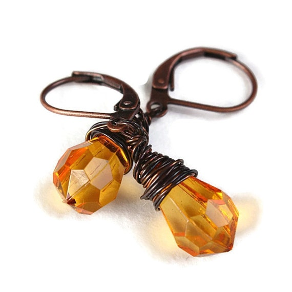 Orange teardrop and antique copper leverback earrings READY to ship (210) - Flat rate shipping