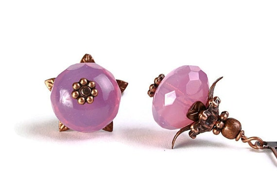 Milky rose Czech glass rondelle and antique copper leverback earrings READY to ship (241) - Flat rate shipping