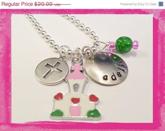 First Communion Necklace - Personalized for Children Hand Stamped #W821